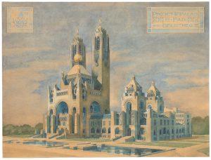 Ontwerp voor het Vredespaleis, Willem Kromhout, 1906. Collectie Nieuwe Instituut