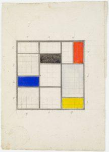 Theo van Doesburg. Ontwerp voor daklicht in bibliotheek, Meudon-Val-Fleury, 1930. Collectie Het Nieuwe Instituut, gift Van Moorsel