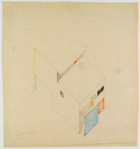 Theo van Doesburg. Ontwerp voor de atelierwoning Meudon-Val-Fleury, 1929. Collectie Het Nieuwe Instituut, gift Van Moorsel
