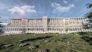 Façade van het ontwerp van het Olympisch stadion, dat na gebruik is te transformeren tot appartementen- en hotelcomplex met openbare functies op de begane grond
