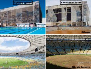 Sportgebouwen tijdens en na de Olympische Spelen. Vooral in de armere landen is verwaarlozing van de Olympische sportcomplexen erg groot