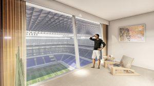 Hotelkamer met zicht op het voetbalveld