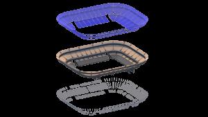 Opbouw van de tribune. Ondanks dat de tribunes weggehaald worden, zijn deze toch een van de belangrijkste ontwerpaspecten