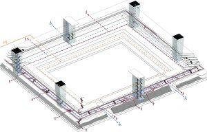 Routing  appartementen (rechts). De belangrijkste elementen van de ontsluiting zijn zes verticale robuuste kolommen van beton