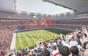 Visualisatie stadion. Door de transformatie van stadion naar appartementencomplex wordt het voetbalveld overbodig
