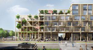 Poppies in Amsterdam Noord bestaat uit prefab modules in CLT die schakelbaar zijn in de toekomst