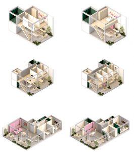 Binnen elk appartementtype ontwerpt MKA veel indelingsvarianten.