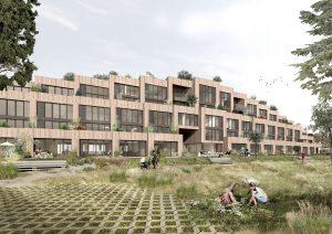 Appartementengebouw Peak aan de Noorderplassen in Almere wordt gebouwd met gerecycled beton en houten gevels. Scheiding van drager en invulling maakt het gebouw flexibel.