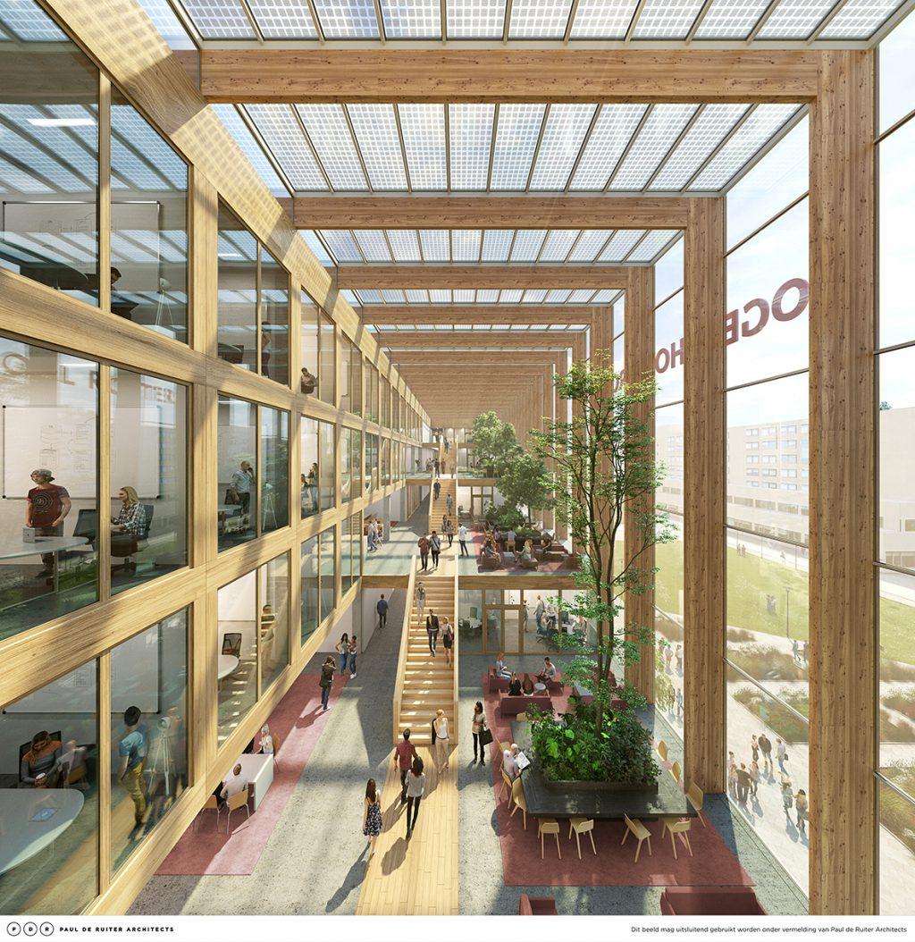 Nieuwbouw Hogeschool Rotterdam Business School door Paul de Ruiter Architects