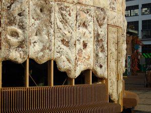Growing Pavilion op het Ketelhuisplein in Eindhoven tijdens de Dutch Design Week 2019, een initiatief van Lucas de Man (l) en Pascal Leboucq (r) van Stichting Nieuwe Helden. Foto Eric Melander,
