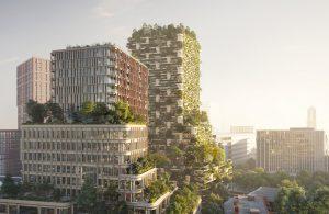 Wonderwoods Utrecht. Twee torens met appartementen, kantoren en horeca, op de hoek van de Croeselaan en het Veemarktplein, vlakbij Utrecht CS. Ontwerp: Stefano Boeri Architetti, MVSA Architects, Arcadis