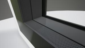 Waar het geluid het kozijn raakt, heeft Reynaers het aluminium geperforeerd en voorzien van geluidsabsorberend materiaal