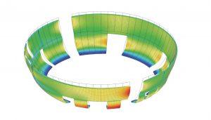 Depotgebouw - Model krachtwerking schil driedimensionaal berekend