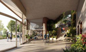 De entree van Elements met trap naar wintertuin en de transparante plint met commerciële ruimtes.