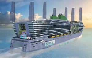 Impressie van toekomstig cruiseschip met pvfilm over de romp, intrekbare zeilen met PV-cellen, windturbine, algen, groen, energie-uitwisselingsprincipe en onderzoekslab