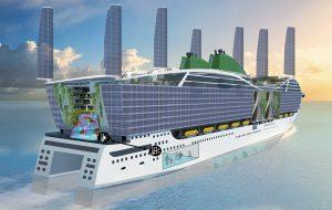 Impressie van een toekomstig cruiseschip met tweedehuid balkons met solar-filmed glass, intrekbare zeilen met PV-cellen, windturbine, algen, groen, energie-uitwisselingsprincipe en onderzoekslab