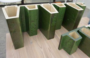 Keramische tubes, geglazuurd in groen voor de uitbreiding van  Musis Sacrum Arnhem. (Van Dongen KOschuch 2017)