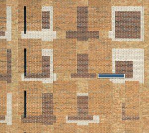 Voor het stationsgebouw in Breda wilde architect Koen van Velsen baksteenvlakken in een veelkleurig palet, die de aanpassingen in het ontwerp verbeelden. Foto: Rene de Wit