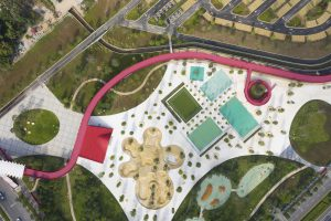 Drone foto van het gerealiseerde skatepark