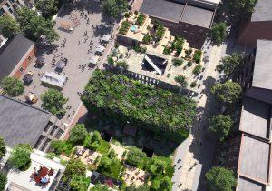 Elk gebouw heeft een gevel die bijdraagt aan vergroening van de stad, de daken krijgen tuinen of een appelboomgaard