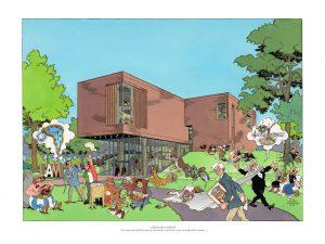 Deze tekening van Theo van den Boogaard van het Lisser Art Museum, ontworpen door architect Korbee is een topstuk uit de collectie van het Museum of Comic Art.  Bron: Theo van den Boogaard, Museum of Comic Art