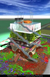 Zo zou het Nederlandse paviljoen er uit komen te zien. Ontwerp uit 1999